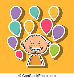 boy balloons party cartoon