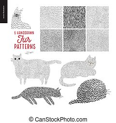 Handdrawn patterns with cats