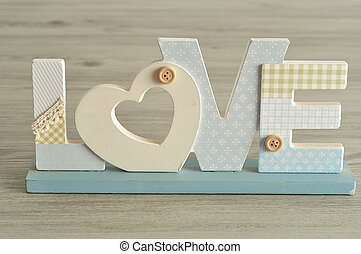 Valentine's Day. Love in blue letters