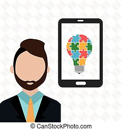 smartphone man idea icon vector illustration eps10