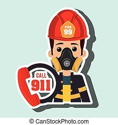 man firefighter mask helmet