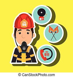 man firefighter call 911 alarm vector illustration graphic