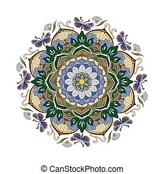 Decorative Mandala ornament, exquisite colorful floral...