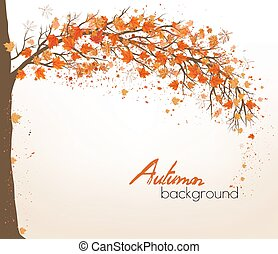 Autumn abstract background with colorful leaves. Vector