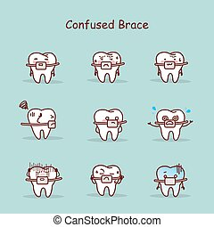 cartoon tooth wear brace - confused cartoon tooth wear brace...