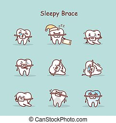 cartoon tooth wear brace - sleepy cartoon tooth wear brace...