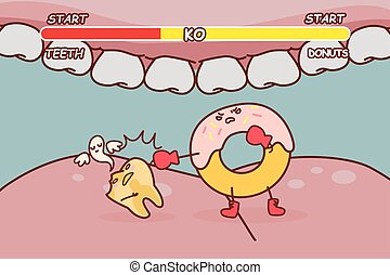 donuts is ko decayed tooth - cartoon donuts is ko decayed...