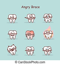 cartoon tooth wear brace - angry cartoon tooth wear brace...