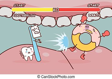 tooth brush is ko donuts - cartoon tooth brush is ko donuts...