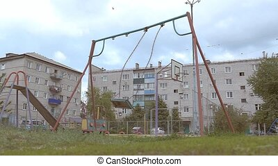 empty swing swing slow motion video - empty swings swaying...