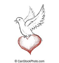 white dove symbol design - white dove heart bird peace...