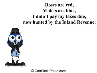 Inland Revenue poem - Comical Inland Revenue poem on white...