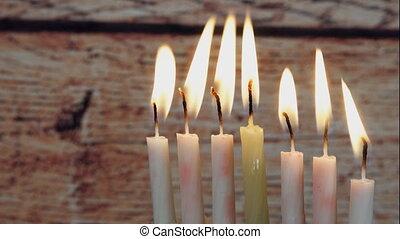 Jewish holiday Hanukkah with menora - Jewish holiday...