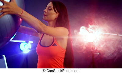 Girl with big ball do exercises on fitball. - Sports fitness...