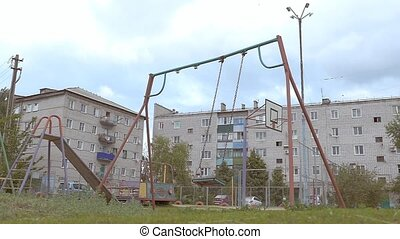 swing swing on the playground Slow motion video - empty...