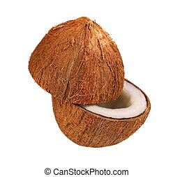 Coconut half isolated on white background, clipping path