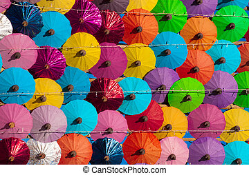 Many Colored paper umbrellas - pattern many colored paper...