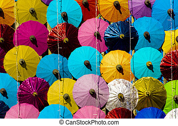 Many Colored paper umbrellas - pattern. many colored paper...