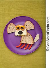 perro, hecho, de, bread, y, vegetales, en, placa, y, tela