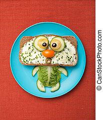 bread, vegetales, hecho, tela, gato