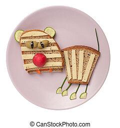queso, hecho, placa, triste, tigre,  bread