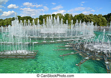 Beautiful Fountain in Tsaritsyno park in Moscow, Russia -...