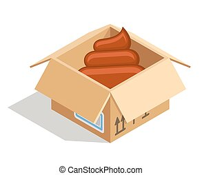 Poo in box - Poo delivered in a cardboard box isolated over...