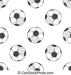 Soccer balls seamless pattern in black and white. Football...