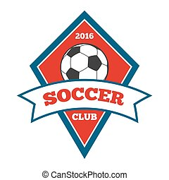 Vector soccer logo, badge, emblem template in red and blue...