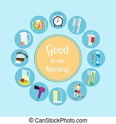 Good morning new day background Vector illustrationa