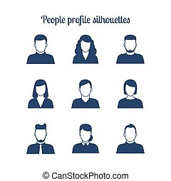 People profile silhouettes icons set Vector illustration
