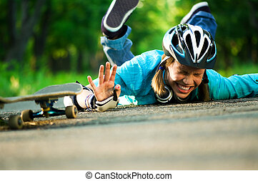 Teenage girl with skateboard - Beautiful teenage girl with...