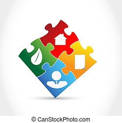 Infographic color puzzle pieces illustration design graphic
