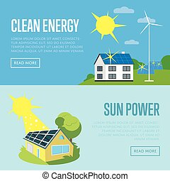 Clean energy and sun power vertical banners.