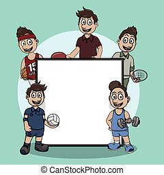 indoor sport athelete sign illustration design
