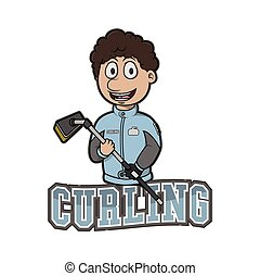 curling logo illustration design