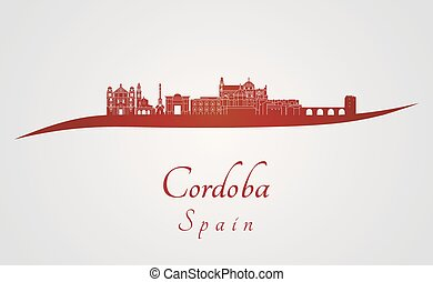 Cordoba skyline in red and gray background in editable...