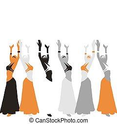 hermoso, baile,  Womans