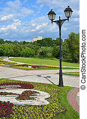 General view of park Tsaritsyno in summer at Moscow, Russia...