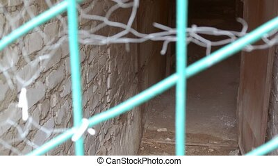 through the torn mesh visible cellar slow motion video -...