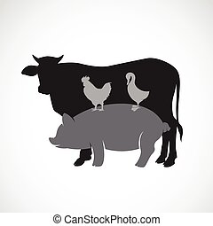 Vector group of animal farm label - cow,pig,chicken,duck