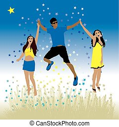 Boy and girls dance on a meadow