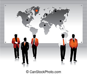 Business peoples silhouettes, world map