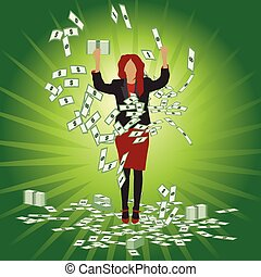 Business woman catches money