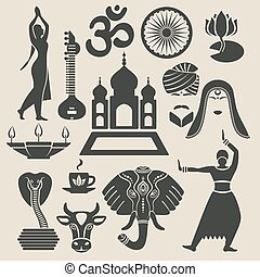 India Exotic icons set vector illustration - eps 8