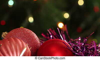 Christmas balls and fir tree with garland flashing....