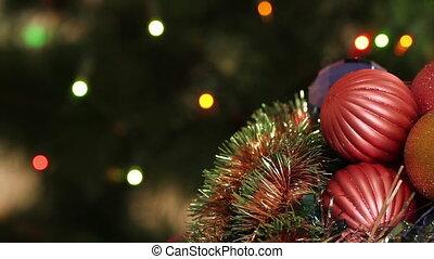 Christmas balls and fir tree