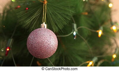 purple ball in sequins on the Christmas tree HD
