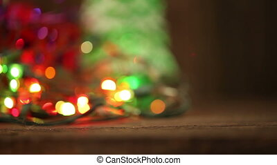 Abstract christmas background flashing garland HD