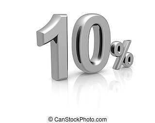 10 percents discount symbol with reflection isolated white...